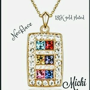 Multicolored necklace 18k gold plated 18 inch